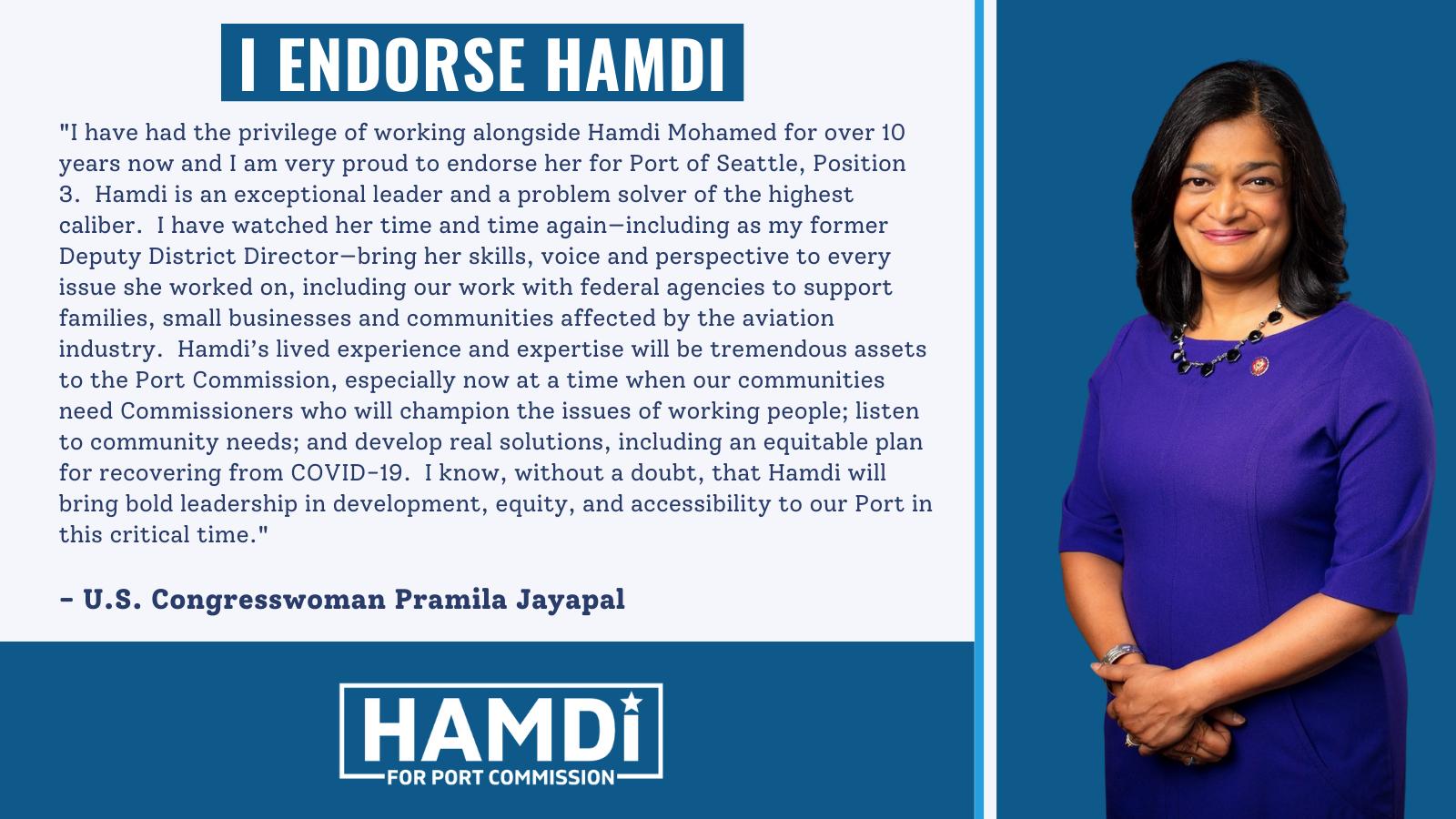 US Congresswoman Pramila Jaypal Endorsement